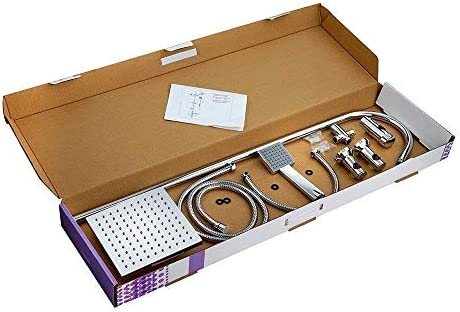 CON:P SA330101 Conjunto de ducha con barra (cuadrado, 1 función): Amazon.es: Bricolaje y herramientas