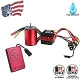 [Profession Brushless Motor] Muti-Protection Waterproof Visdron 3650 3100KV/ 3900KV Brushless Motor+60A ESC+Programming Card for 1/10 RC Car (Red, 3650-3900KV Motor+ESC+Card)