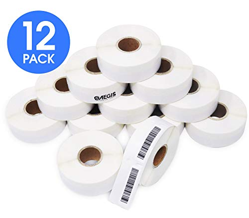 "Aegis Labels - 12 Rolls DYMO 30346 Compatible Library Barcode UPC 1/2"" X 1-7/8"" Replacement Labels for LW Labelwriter 450, 450 Turbo, 4XL (600/Roll)"