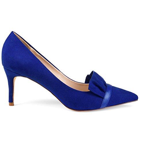 (Brinley Co. Womens Mica Faux Suede Pointed Toe Ruffle Skinny Heels Blue, 8.5 Regular US)