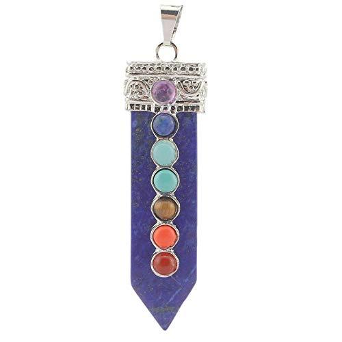 7 Chakra Reiki Healing Stones Natural Gemstone Bullet Sword Chakra Pendant (Sword Lapis Lazuli)