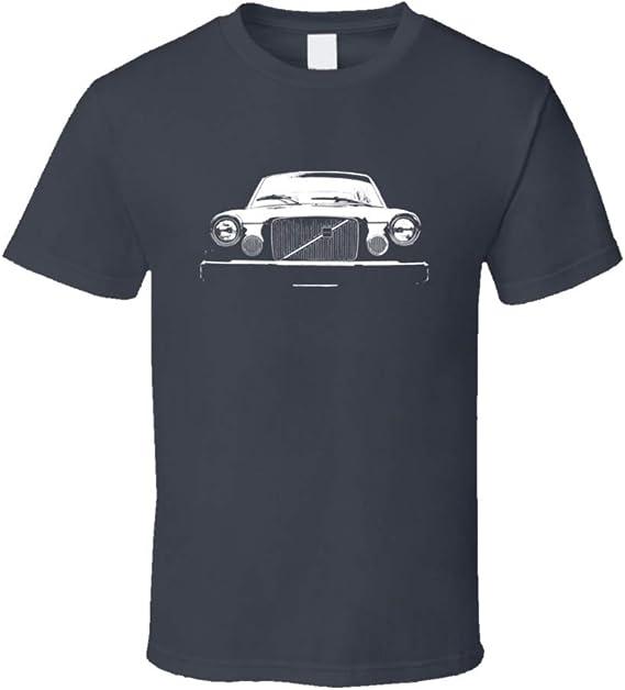 CarGeekTees.com 1975 Volvo Sedan Grill View Faded Look Dark T Shirt