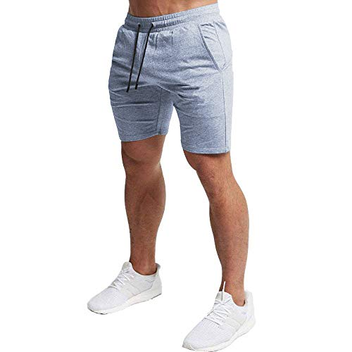 EVERWORTH Men's Casual Training Shorts Gym Workout Fitness Short Bodybuilding Running Jogging Short Pants Gray M Tag XL - Gym Workout Clothes