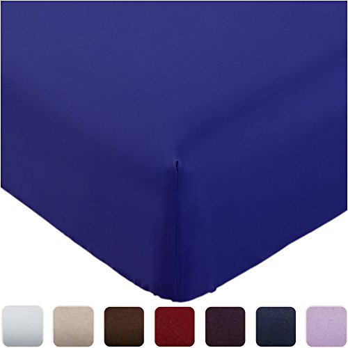 Mellanni Fitted Sheet Full Imperial-Blue - HIGHEST QUALITY Brushed Microfiber 1800 Bedding - Wrinkle, Fade, Stain Resistant - Hypoallergenic - (Full, Imperial Blue)