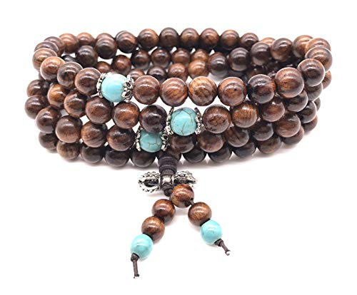 - Jiary Sandalwood Wrist Mala Necklace Prayer Beads Bracelet Wood Wooden for Men Women Boys Girls Kids (Brown)