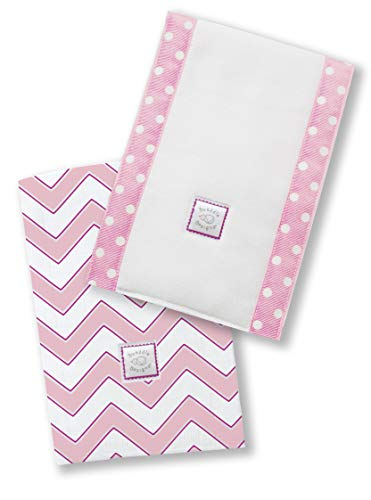 SwaddleDesigns Baby Burpies, Set of 2 Cotton Burp Cloths, Pink Chevron