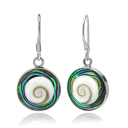 - 925 Sterling Silver Abalone and Shiva Eye Shell Inlay Round Dangle Hook Earrings