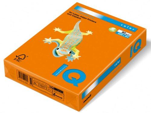 IQ OR43–Confezione di 500fogli, 80g, formato A4, colore: arancione OR43A480