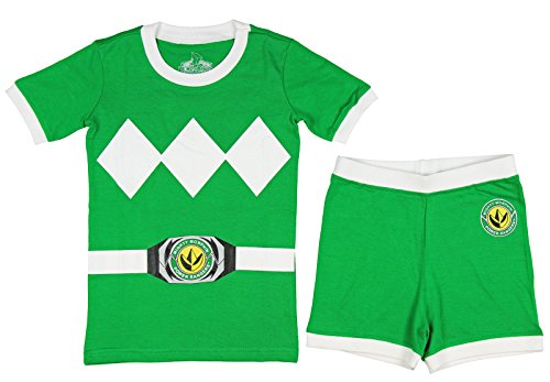 Power Rangers Little & Big Boys Character Cotton Pajamas (6, Green) (Power Ranger Clothes)