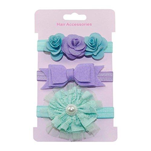 Big Sale! Baby Girls Headband, Iuhan 3Pcs Kids Elastic Floral Headband Hair Girls Baby Bowknot Hairband Set (H)