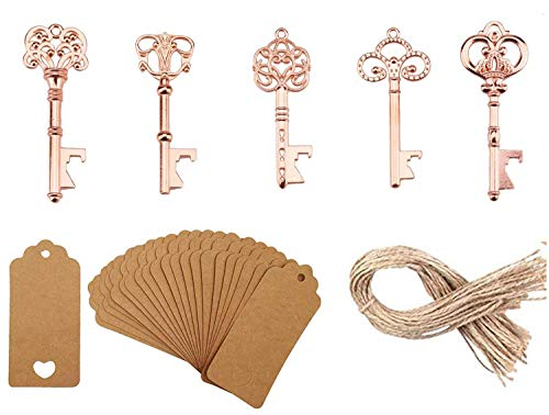 GoldskyUS Skeleton Key Bottle Opener Rose Gold with Escort Tag Card and Twine for Wedding Favors for Guests Party Favors Wedding Favors Key Bottle Opener Rustic Decoration (Rose Gold, 50)]()