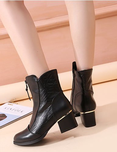 Realy Lined Pointed Black Leather Toe Carving Duberess Heels Women's Half Boot Middle Fleece UqgZHExfw