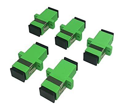 Cerrxian SC Singlemode Fiber Optic Adapter SC Female to SC Female APC Simplex Single Mode Fiber Optical Coupler Network Internet Connector Adapter with Mount Panel (Green 5-Pack)