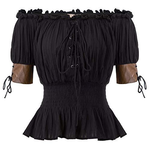 Renaissance Festival Clothing (Steampunk Renaissance Peasant Blouses Shirts Top Pirate Shirt Women 2XL)