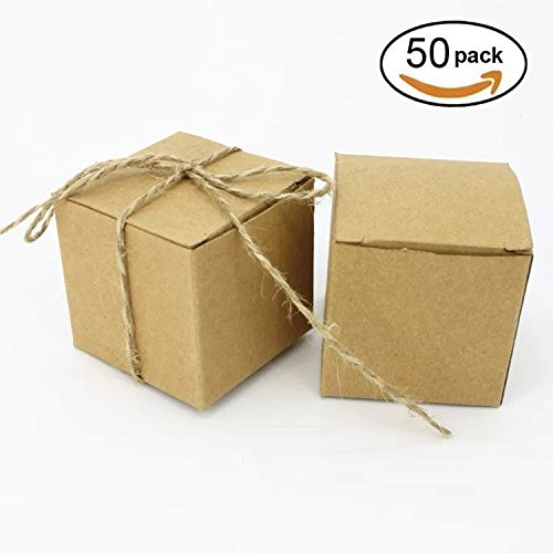 Kraft Paper Cube Favor Box Kit Candy Treat Rustic Gift Boxes Set with Twine for Wedding Favors Baby Shower Birthday Party Supplies, 50pc