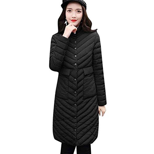 with Quilted Winter Sleeve Padded Color Elegant Pockets Buttons Winter Quilted Down Coat Jacket Ladies Fashion Close Schwarz Casual Light Jacket Long Outerwear Mode Solid Autumn Long ATBUtwnYx