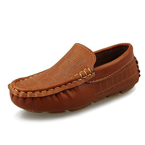Hawkwell Kids Loafer Moccasin Oxford Driver Shoes(Toddler/Little Kid/Big Kid),Brown PU,12 M US