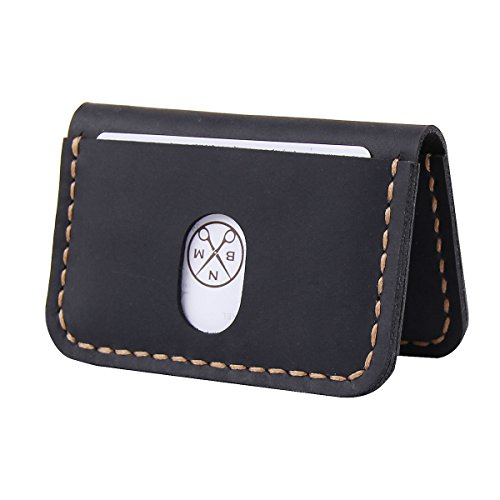 Robrasim Slim Handmade Card Wallet – Minimalist Front Pocket Card Holder – Black