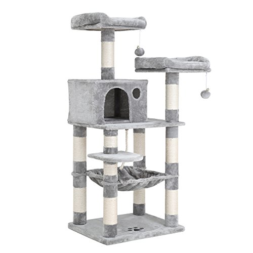 SONGMICS Cat Tree Condo Multi-Level Kitty Play House Sisal Scratching Posts Light Grey 55' UPCT15W