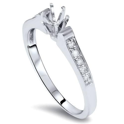 (Diamond Engagement Semi Mount Ring Setting White Gold - Size 7.5)
