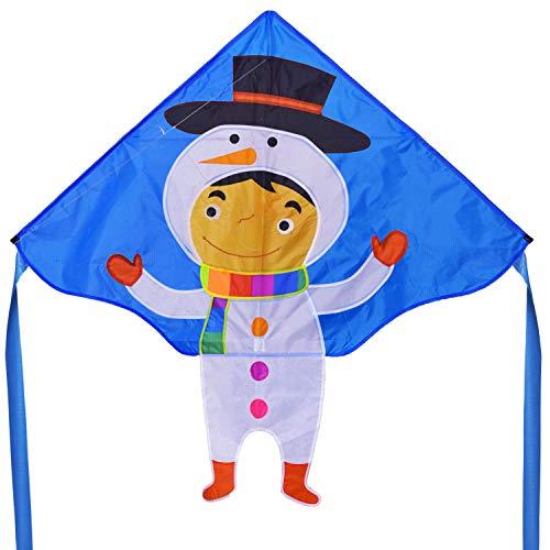 Fiberglass Snowman - Zhuoyue Kite for Kids Easy Flyer Boys Girl ,Single Line Snowman Kite with Kite Line and Handle