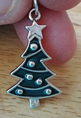 Sterling Silver 26x15mm Green Enamel Christmas Tree Star on top Charm Jewelry Making Supply, Pendant, Sterling Charm, Bracelet, Beads, DIY Crafting and Other by Wholesale Charms ()
