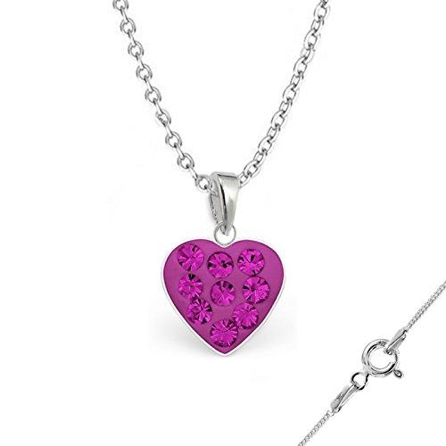 gh1a Cristal Corazón Colgante + Collar + Pendientes 925plata auténtica niña niños Set Pendientes Pendientes