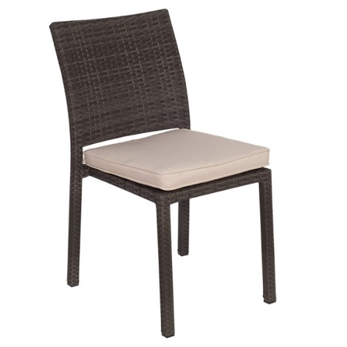 Atlantic 4-Pack Liberty Dining Stackable Chairs, Grey with Off-White Cushions