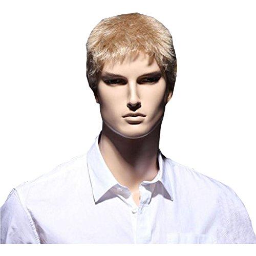 KOLIGHT Hot Businessmen Short Blonde Wigs Hair Men Real Looking Hair Wig Hot Wigs Kanekalon Wig