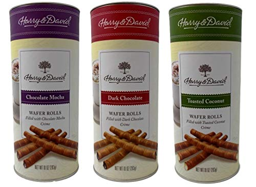 - Harry & David Wafer Rolls Cookies 3 Flavor Variety Gift Bundle, (1) each: Chocolate Mocha, Dark Chocolate, Toasted Coconut (10 Ounces)