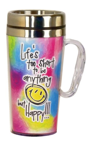 Spoontiques Life's Too Short Insulated Travel Mug, Multi Colored ()