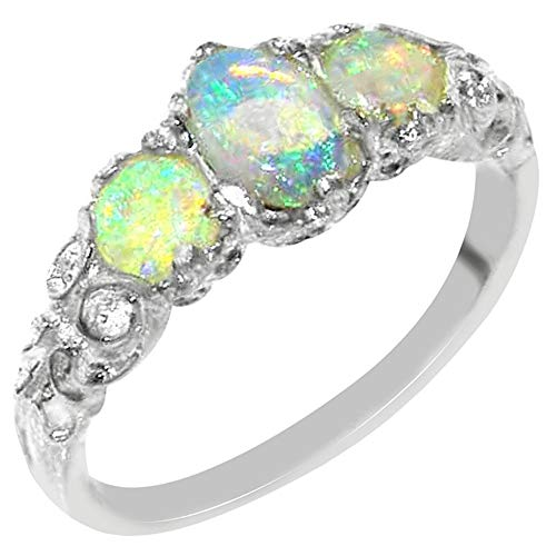 Ladies Solid Sterling Silver Natural Fiery Opal English Victorian Trilogy Ring – Size 12 – Finger Sizes 5 to 12 Available – Suitable as an Anniversary ring, Engagement ring, Eternity ring, or Promise ring