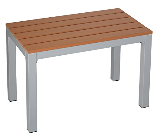 Avery Aluminum Outdoor Bench in Poly Wood, Silver/Teak