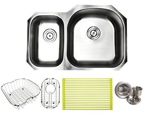 (32 Inch Premium 16 Gauge Stainless Steel Undermount 30/70 D-bowl Offset Kitchen Sink with Free Accessories)