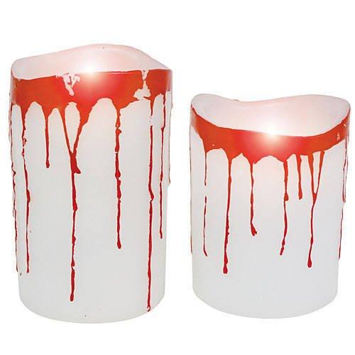 [Blood Dripping Pillar Candles] (Halloween Decor World Market)