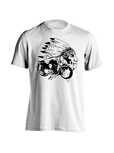 Indian Horse T-shirt - Men's Indian Chief Motorcycle Graphic Tee Native American USA Riding T-Shirt (XL, White)