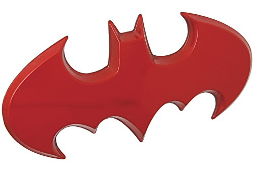 Fan Emblems Batman Car Badge, Red Chrome Batwing Logo 3D Automotive Sticker Decal, Flexes to Fully Adhere to Most Smooth Surfaces - Vehicles, Laptops, Windows, Almost Anything -