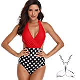 COME2LOOK Women One Piece Swimsuit Off Shoulder Bathing Suit (Color:Style3-Red,Size:S)