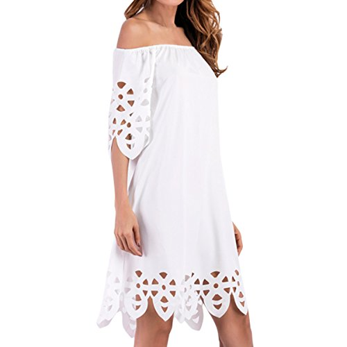 Knee Cold Women's White Cekaso Hollow Dress Shoulder Length Out Solid Short Dress Sleeve 5Uwrqzwd