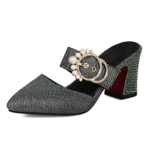 (Sexy Women's Faux Pearl Metallic Buckle Slides Block Heel Rubber Sole Arch Support Pointed Toe Mules)