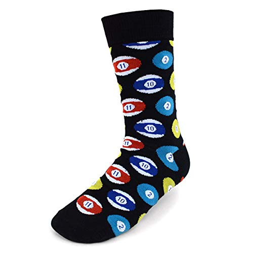 (Urban Peacock Men's Novelty Fun Crew Socks for Dress or Casual - Sports Time! - Multiple Patterns to Select From (Billiards/Pool - Black, 1 Pair))
