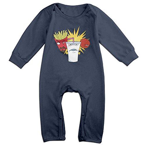 Kids Aqua Teen Hunger Force Baby Bodysuit Little Boys Girls 100% Cotton Long Pants Rompers 18 Months Navy - Blues Clues Blue Romper