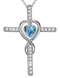 Love Infinity God Cross Necklace Women December Birthstone Jewelry Birthday Her Sterling Silver