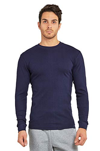 Men's Classic Waffle-Knit Heavy Thermal Top (L, Navy)
