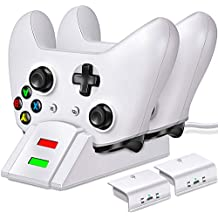 Controller Charger for Xbox one, Controller Charging Station Compatible with Xbox One/One X/One S/One Elite, Dual Charging Dock with 2 x 1200mAh Rechargeable Battery Packs-White