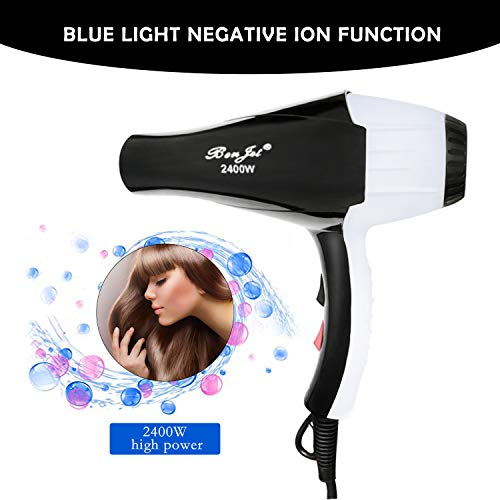 Benjet Professional High power Negative Ion Tourmaline Ceramic Hair Dryer, Suitable for families and salons,Low Noise and Large Air Volume, Faster Drying (White) by Tlanpu (Image #2)