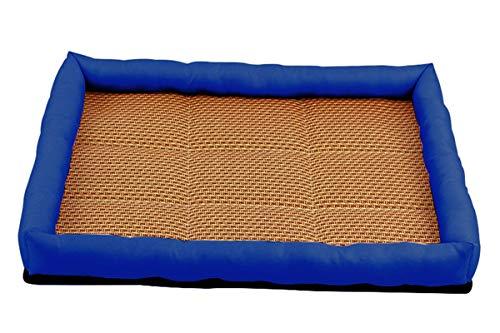 PEACE NEST Summer Pet Bed Cool Mattress Kennel Dog Cat Nest Breathable Rattan Mat Comfortable Dog Sleep Padded Soft Mat Blue,M
