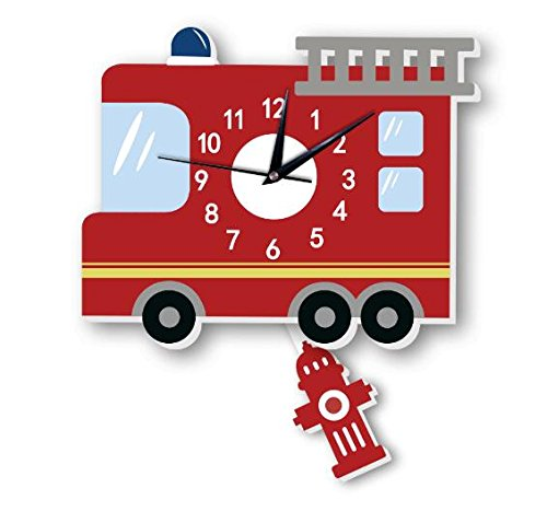 American fire truck wall clock Slient quartz wall clock children's background wall cartoon decoration (5) by Sportskindom
