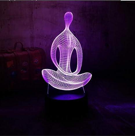 3D luz de la noche lámpara de mesa de escritorio yoga ...