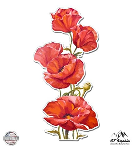 Amazon poppies watercolor beautiful poppy flowers vinyl poppies watercolor beautiful poppy flowers 3quot vinyl sticker for car laptop i mightylinksfo